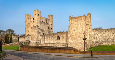 Rochester, United Kingdom - March 28, 2020: View to Rochester castle from South.