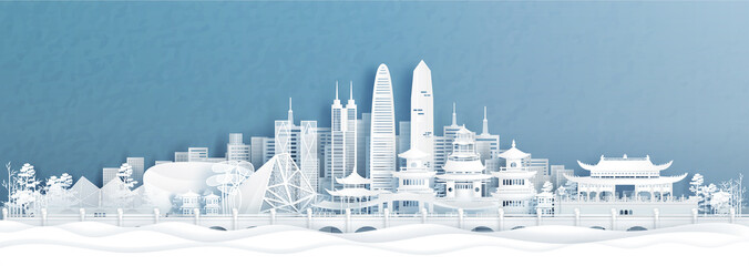 Fototapete - Panorama view of Shenzhen skyline with world famous landmarks of China in paper cut style vector illustration.