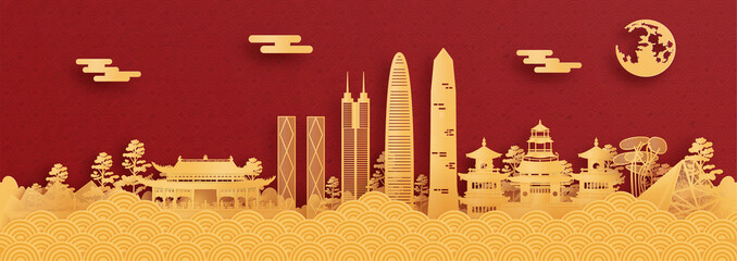 Fototapete - Panorama postcard and travel poster of world famous landmarks of Shenzhen, China in paper cut style vector illustration