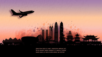 Fototapete - Watercolor of Shenzhen, China silhouette skyline and famous landmark. vector illustration.