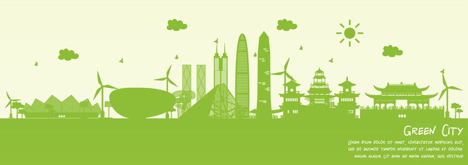 Wall Mural - Green city of Shenzhen, China. Environment and ecology concept. Vector illustration.