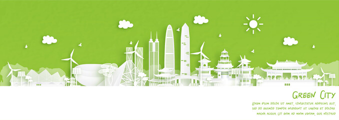 Fototapete - Green city of Shenzhen, China. Environment and ecology concept in paper cut style. Vector illustration.