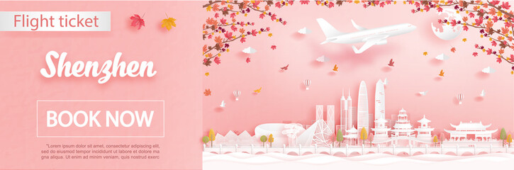 Fototapete - Flight and ticket advertising template with travel to Shenzhen, China in autumn season deal with falling maple leaves and famous landmarks in paper cut style vector illustration