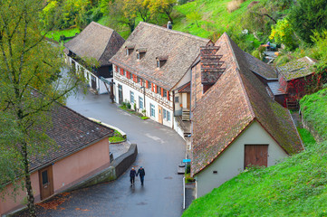 Scenic countryside landscape of a Swiss small village located near the Rhine Falls by the River Rhine in Switzerland