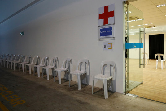 A view of a medical consultation center at Changi Exhibition Centre which has been repurposed into a community isolation facility that will house recovering or early COVID-19 patients with mild symptoms, in Singapore