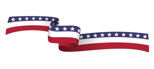 American ribbon flag on white background