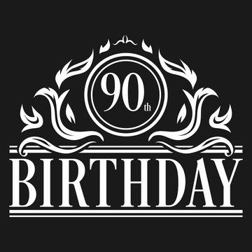 Luxury 90th Birthday Logo illustration vector