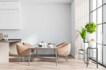 Photo sur cadre textile Nature White and wooden dining room interior