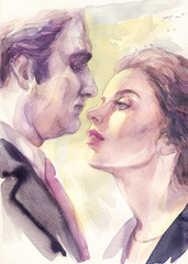man and woman. watercolor illustration