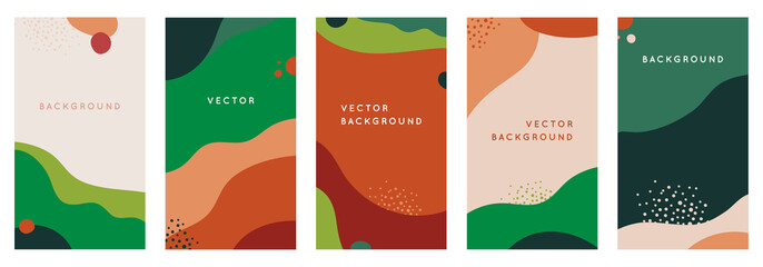 Vector set of abstract creative backgrounds in minimal trendy style with copy space for text - design templates for social media stories - simple, stylish and minimal wallpaper designs for invitations Fotomurales