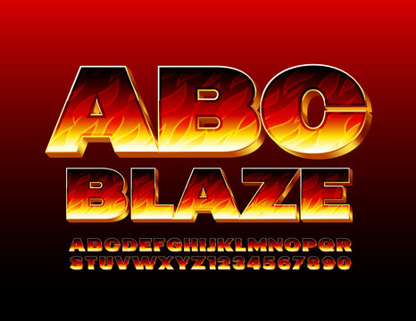 Vector Blaze Alphabet. Flaming 3D Font. Fire burning Letters and Numbers