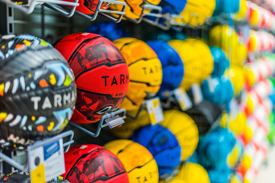 Tarmak basketballs put up for sale in the Decathlon store