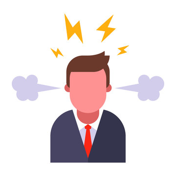 angry boss on a white background. steam from the ears and sparks from the head. flat vector illustration.
