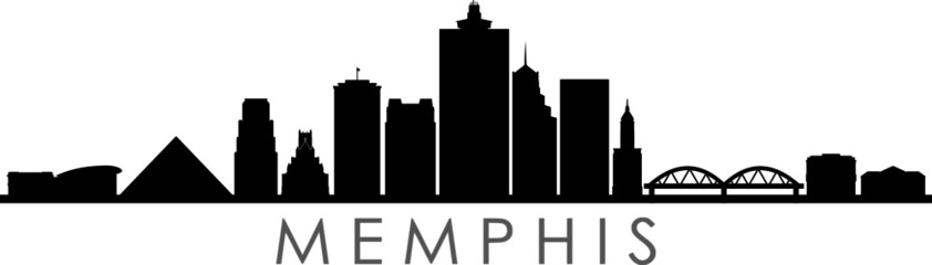 Fototapete - MEMPHIS TENNESSEE City Skyline Silhouette Cityscape Vector