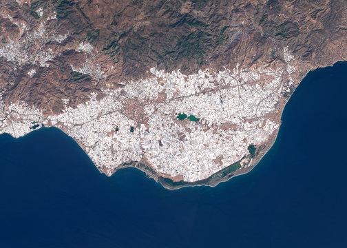 Satellite image of intensive farming with plastic greenhouses near Almeria, Spain. Contains modified Copernicus Sentinel data 2019.