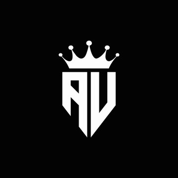 AV logo monogram emblem style with crown shape design template