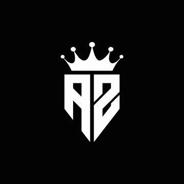 AZ logo monogram emblem style with crown shape design template