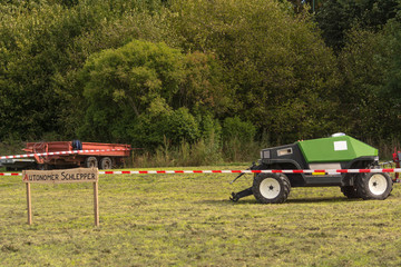 Autonomous tractor in the field.
