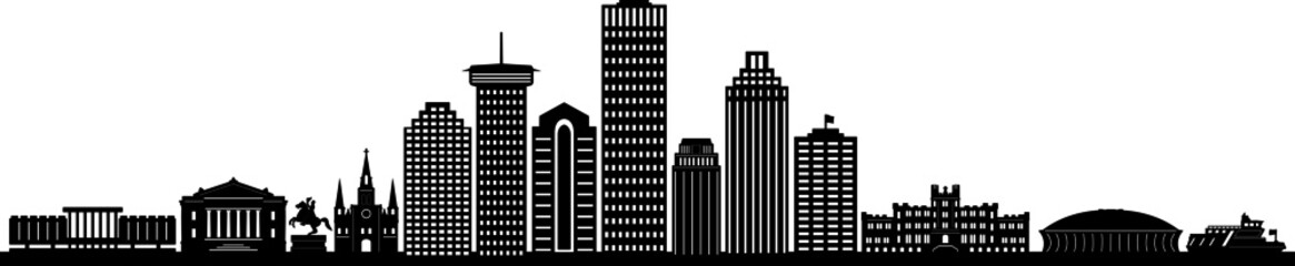NEW ORLEANS LOUISIANA City Skyline Silhouette Cityscape Vector Fotomurales