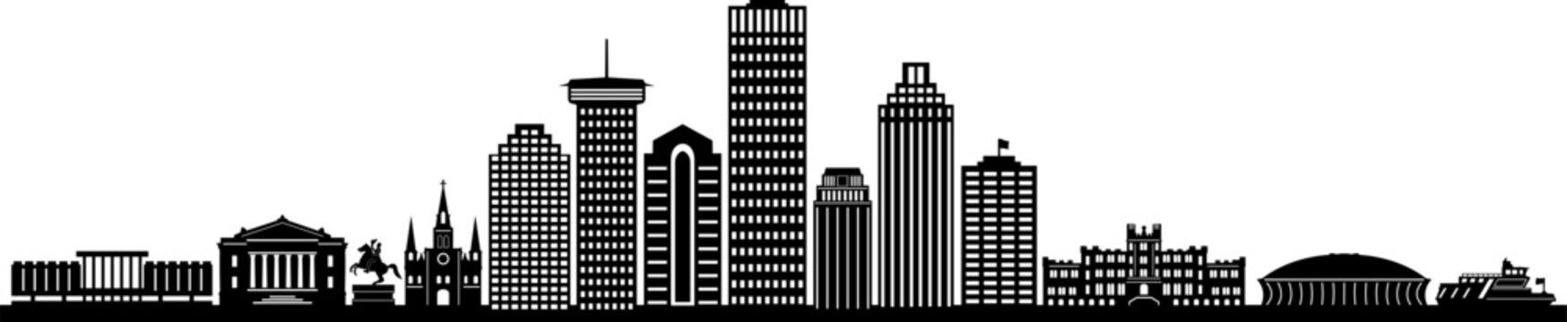 NEW ORLEANS LOUISIANA City Skyline Silhouette Cityscape Vector