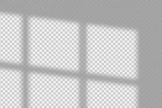 Shadow overlay effect. Transparent overlay shadow from the window and jalouse. Realistic soft light effect of shadows and natural lightning on transparent background. Vector.