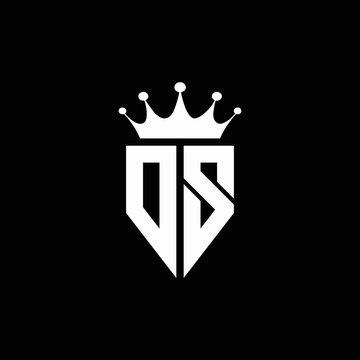 DS logo monogram emblem style with crown shape design template