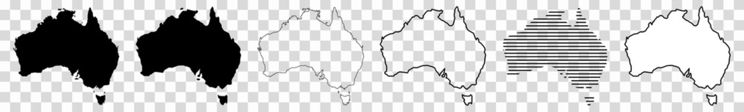 Australia Map Black | Australian Border | Continent | Transparent Isolated | Variations