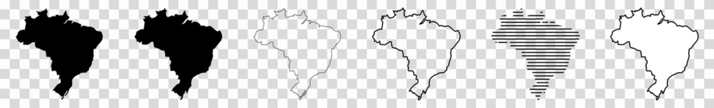 Brazil Map Black | Brazilian Border | State Country | Transparent Isolated | Variations