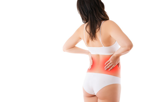 Kidney stones, pain in a woman's body isolated on white background, chronic diseases of the urinary system concept