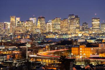 Wall Mural - Boston Night cityscape