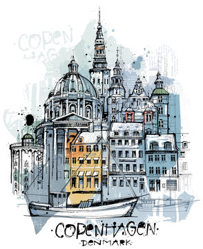 Handgezeichnete Kopenhagen Skizze auf einer Ebene reduziert