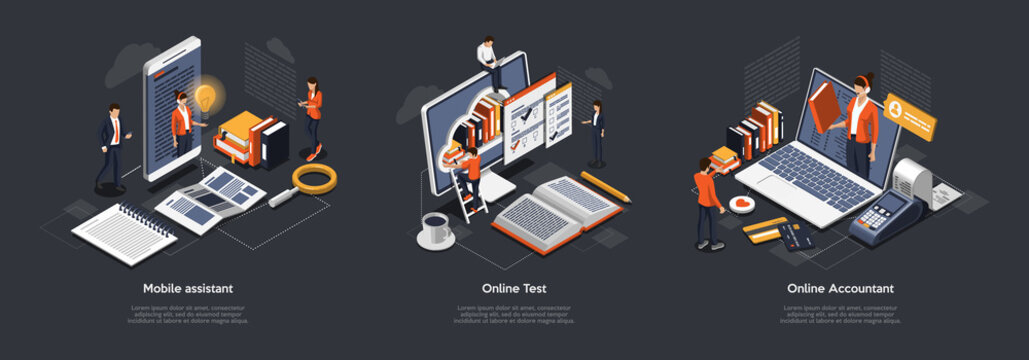 Isometric 3D Online Test, Accountant And Mobile Assistant. Customer Online Support, Testing And Education. Professional Specialists Offer Their Services Online And Remotely. Vector Illustrations Set