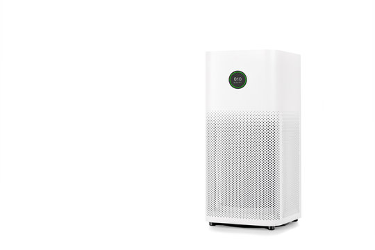 Air purifier with filter for cleaner removing fine dust PM2.5 isolated on white background