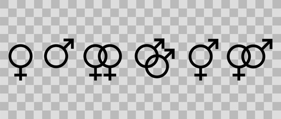 Set of gender symbols. Concept sexual orientation isolated on transparent background. Vector illustration, EPS10.