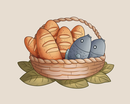 Five Loaves Two Fishes Bible Illustration HD