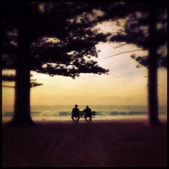 Poster Indiens Rear View Of People Sitting On Bench At Shore
