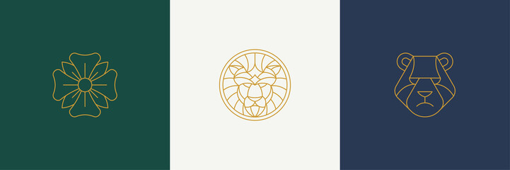 Vector line decoration design elements set - lion and bear heads illustrations simple minimal linear style