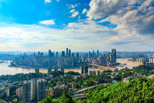 Modern city skyline and buildings with river in Chongqing,China.