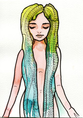 Fotobehang Schilderkunstige Inspiratie Illustration green woman