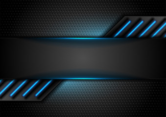 Fotobehang - Futuristic perforated technology abstract background with blue neon glowing lines. Vector concept design