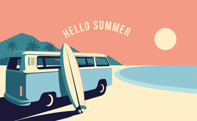Papiers peints Saumon Surfing van and surfboard at the beach with mountains landscape on background. Summer time vacation banner design template. Vintage styled minimalistic vector illustration.