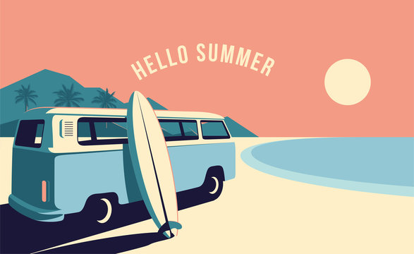 Surfing van and surfboard at the beach with mountains landscape on background. Summer time vacation banner design template. Vintage styled minimalistic vector illustration.