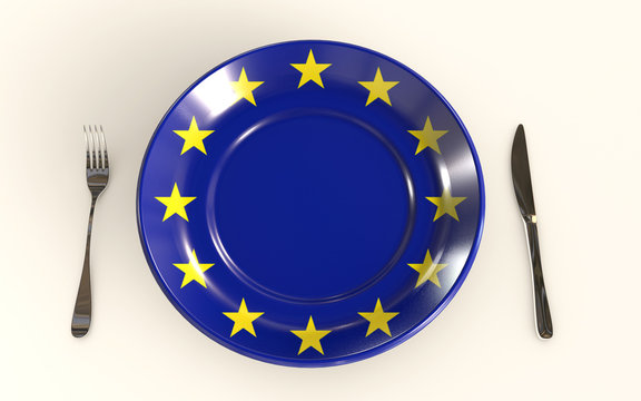 EU food industry standards 3d rendered concept isolated on white