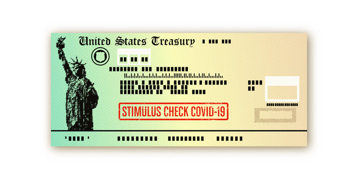 Covid-19 US stimulus check payment vector design - social security and financial relief illustration