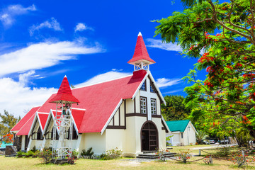 Landmarks of beautiful Mauritius island - Red church with blooming flamboyant tree