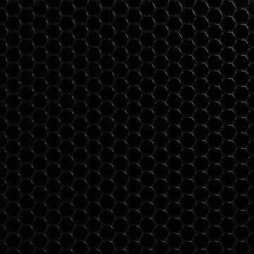 Geometric black carbon hexagonal modern background - 3d render