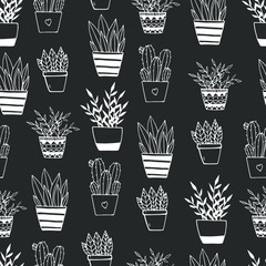 Foto auf AluDibond Boho-Stil Seamless pattern of hand drawn doodle home plants. Illustration in doodle style for wedding decoration, card, greeting, print and other floral vintage design.