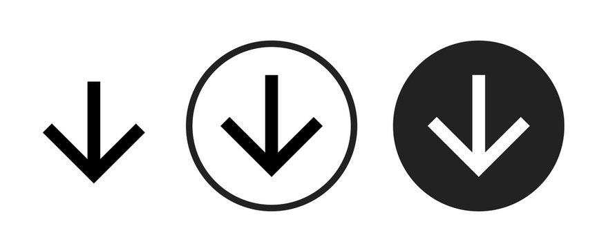 arrow downward icon . web icon set .vector illustration