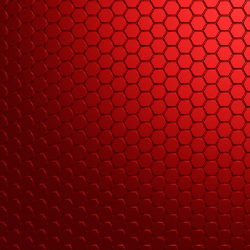 Geometric hexagonal modern red metal background - 3d render