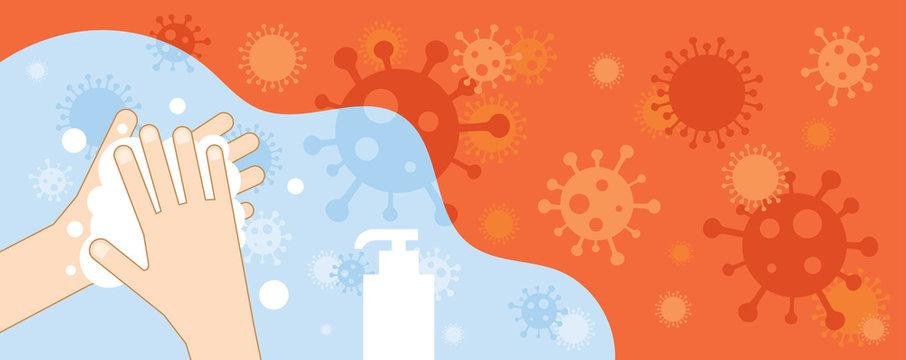 Hand Washing to Prevent Coronavirus Covid-19 Background